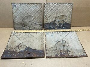 4pc Lot Of 11 X 11 Antique Ceiling Tin Vintage Reclaimed Salvage Art Craft