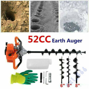 52cc Post Hole Digger 2 5hp Gas Powered Earth Auger Fence Borer 3 drill Bits