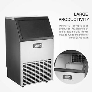 100lbs Ice Maker Stainless Steel Commercial Built in Restaurant Ice Cube Machine