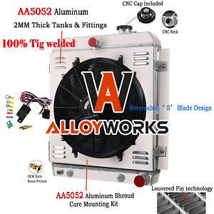 4 Row Radiator Shroud Fan For Chevy Truck 3100 3600 3700 3800 3900 L6 1947 1954
