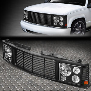 For 94 00 Chevy Gmc C K 1500 3500 Headlights Rover Grille Conversion Kit Black