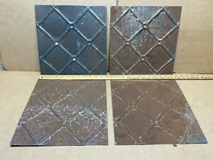 4pc Lot Of 12 X 12 Antique Ceiling Tin Vintage Reclaimed Salvage Art Craft