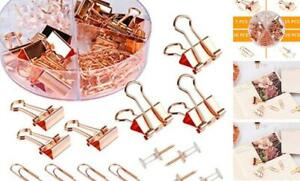 Push Pins Binder Clips Paperclips Sets For Office School And Home Rose Gold