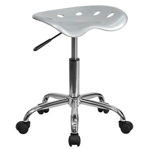 Flash Furniture Vibrant Tractor Seat Stool Silver Lf214asilver