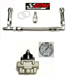 Holley Carb Carburetor Braided Fuel Line Dual Feed Regulator Gauge Kit 4150 8an
