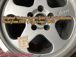 Saleen Gold 6 Bumper Number Decal Frm 1989 Mustang Ford S351 Foxbody S281 Cobra