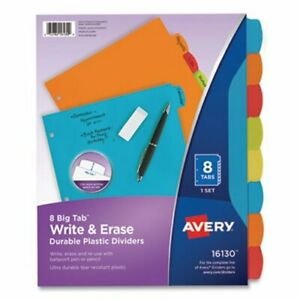 Avery Big Tab Write And Erase Durable Plastic Dividers 8 tab Letter