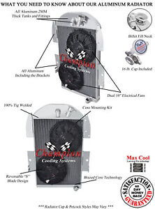 3 Row Wr Champion Radiator 12 Fans 1934 1936 Chevy Pickup Factory 6 Cyl Eng