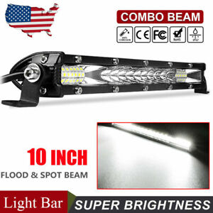10inch 300w Led Light Bar Spot Flood Combo Work Suv Boat Driving Offroad Atv 4wd