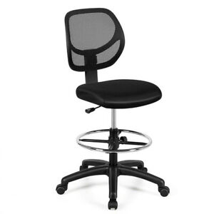 Gymax Mesh Drafting Chair Mid Back Office Chair Adjustable Height W footrest