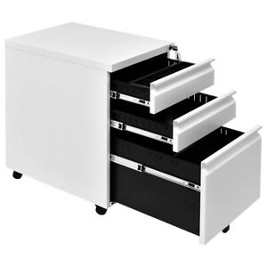 Costway White 3 Drawers Rolling Mobile File Pedestal Storage Cabinet Steel Home