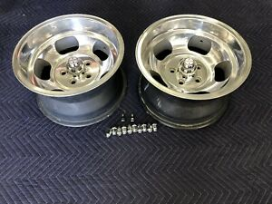 Vintage Pair 2 15x8 1 2 Us Indy Dish Mag Style Mag Ford Mopar Dodge 5 On 4 1 2