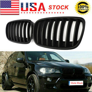 Pair Front Matte Black Kidney Grill Grille For Bmw X5 E70 X5m X6 E71 E72 2007 13