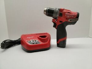 Milwaukee 2504 20 M12 Fuel Brushless 1 2 In Hammer Drill With Battery Charger