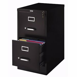 Deluxe 2 Drawer Locking File Filing Cabinet Black Metal Home Office