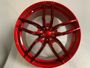 Four 20 Staggered Candy Red V Style Rims Wheels Fits 5x114 3 Bolt Pattern 35mm