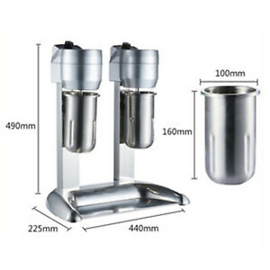 110v Commercial Stainless Steel Milk Shake Machine Double Head Drink Mixer 300w