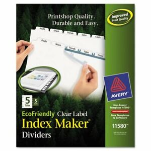 Avery 100 Recycled Index Maker Dividers White 5 tab 5 Sets ave11580