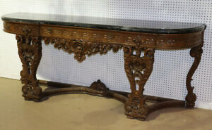 Monumental Carved Walnut French Portoro Marble Top Sideboard Buffet Circa 1920
