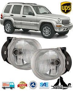 Clear Lens Driving Fog Lights Front Bumper Lamps Pair For 2002 2004 Jeep Liberty