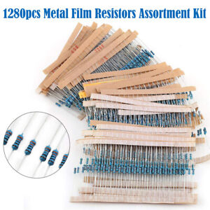 1280pcs Metal Film Resistors Assortment Kit Set 64 Values 1 10m Ohm 1 4w Uk