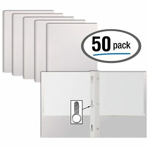 White Paper 2 Pocket Folders With Prongs 50 Pack By Better Office Products