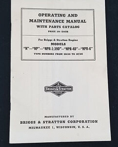 Vtg Briggs And Stratton Operating And Maintenance Manual With Parts Catalog