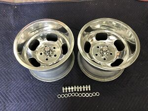 Vintage 15x10 Pair Polished Sprint Indy Mags Nice 5 On 4 3 4 Chevy Van Hotrods