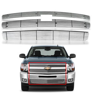 Fits 2007 2013 Chevy Silverado 1500 Chrome Grille Billet Grill Insert Combo