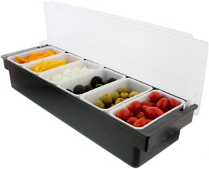 Ice Cooled Condiment Serving Container Chilled Garnish Tray Bar Caddy For Home W