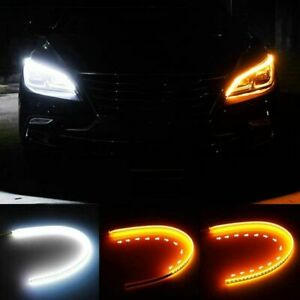 2 X 60cm Drl Led Light Amber Sequential Flexible Turn Signal Strip For Headlight
