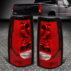 For 03 07 Chevy Silverado Red Lens Tail Light Rear Brake Lamp W Wiring Harness
