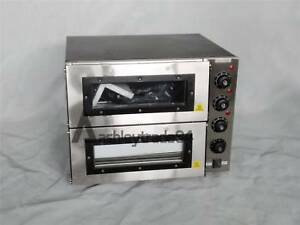 New 3000w 110v 16 Double Deck Electric Pizza Oven Commercial Ceramic Stone