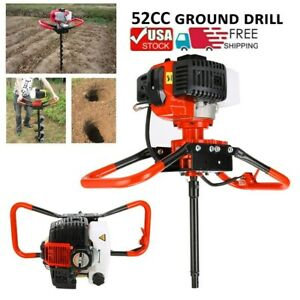52cc Gas Hole Auger Post Digger Borer Fence Landscaping Ground Drill 3 Bits Usa