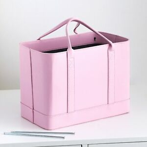 Chic File Organizer Tote Bag With Carrying Handles And Drop Strap Pink