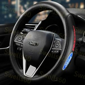 Black 15 Diameter Car Auto Steering Wheel Cover Genuine Leather For Ford New X1