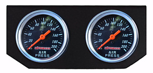 Air Ride Suspension Black Single Needle Air Gauges Double Display Panel 200psi