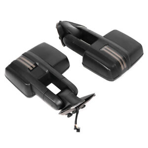 2x Trailer Heated Rearview Towing Mirror Set Black For Chevy Tahoe Gmc Sierra