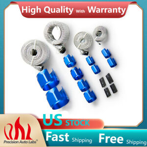 Braided Stainless Steel Vacuum Fuel Radiator Oil Line Dress Up Hose Cover Blue