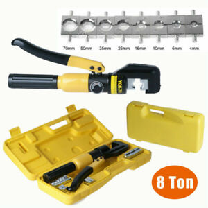 4 70mm Hydraulic Crimper Tool Tube Terminals Lugs Battery Wire Crimping Force 8t