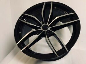 Four 19 Staggered Black Machine V Style Rims Wheels Fits 5x114 3 Bolt Pattern