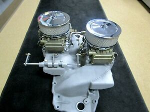 396 427 454 Offenhauser Hi Rise Cross Ram Intake And Holley Carbs Never Used