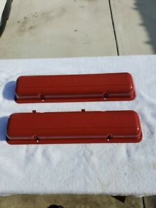 Sbc Chevy Gm Stamped Script Valve Covers 265 Early 283 Oem Vintage Staggered O
