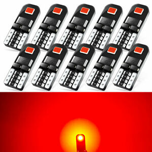 10pcs Pure Red T10 Wedge Led Dome Door Map Interior Light Bulb 168 192 194 2825