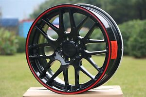19x8 5 Gloss Black W Red Lip M3 Csl Style Wheels For Bmw 3 Series