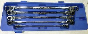 Cornwell Metric Long Ratcheting Box Wrench Set Spline Reversing Flex Head