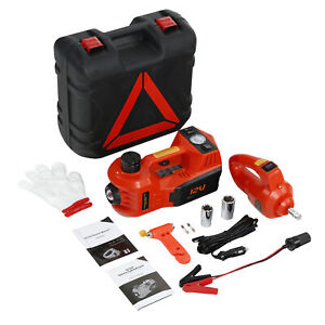 Electric 12v Car Jack 5 Ton Floor Jack Lift W Impact Wrench Tire Inflator Pump