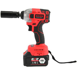 1 2 Electric Brushless Cordless Impact Wrench Drill High Torque Tool Battery