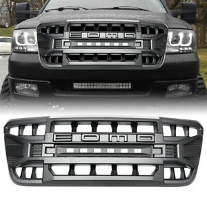 Matte Black Front Armor Grille W Off Road Lights For Ford F150 2004 2008 Abs
