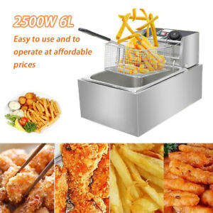 2500w 6l Commercial Electric Deep Fryer Restaurant Stainless Steel 6 3qt Us New